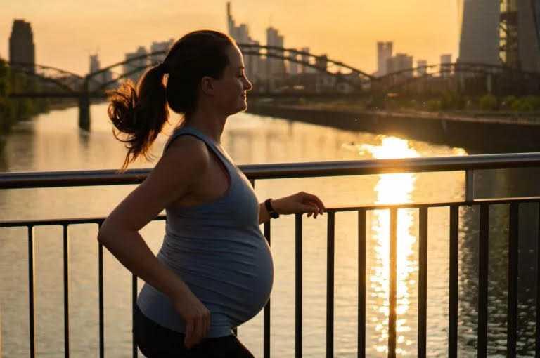 mujer corriendo embarazada